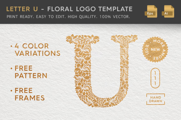 Letter U - Floral Logo Template Graphic Logos By Textures