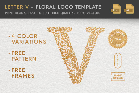 Download Free Letter V Floral Logo Template Graphic By Textures Creative Fabrica for Cricut Explore, Silhouette and other cutting machines.