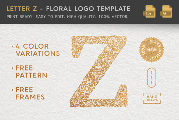 Letter Z - Floral Logo Template Graphic Logos By Textures