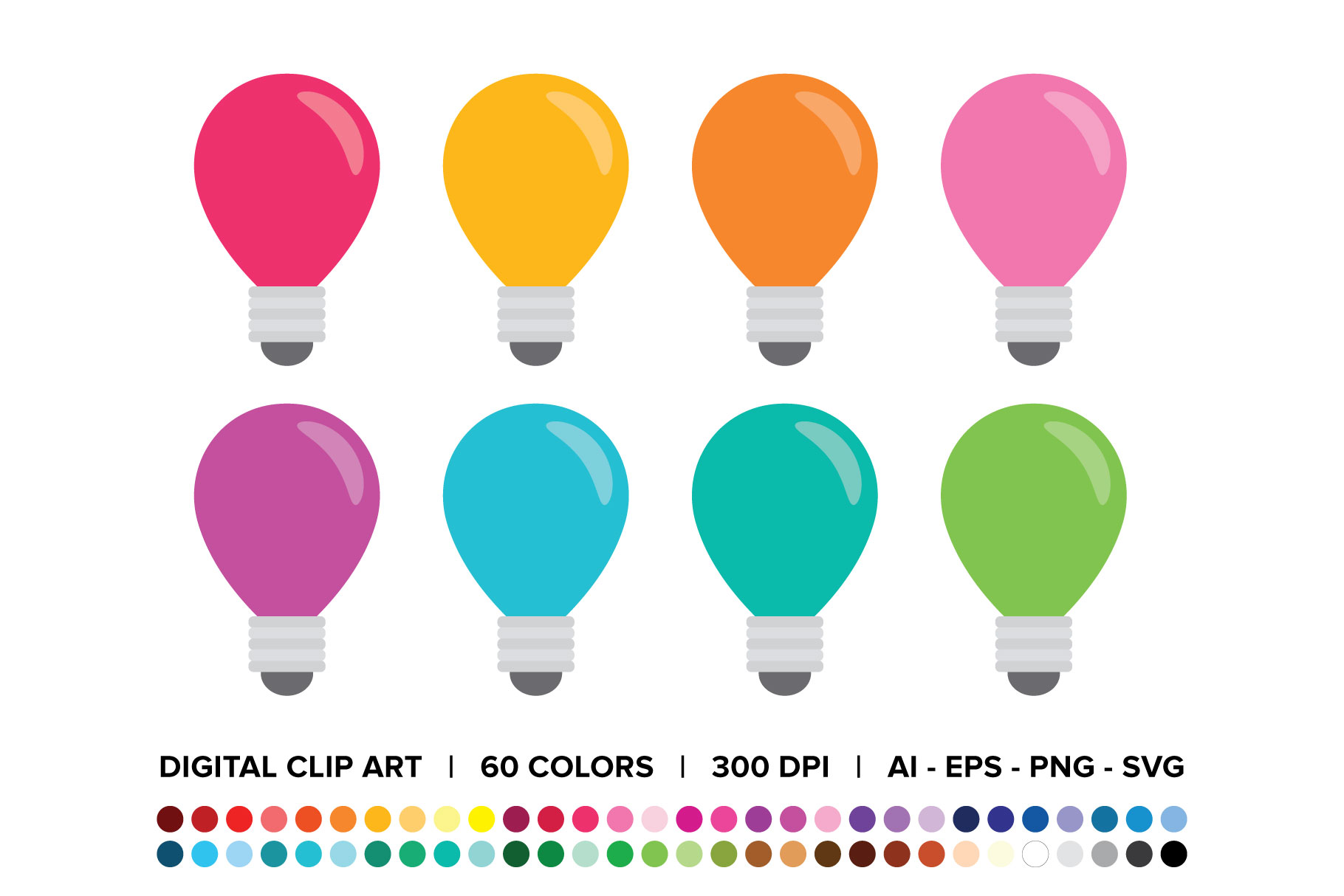Download Free Light Bulb Clip Art Set Graphic By Running With Foxes Creative for Cricut Explore, Silhouette and other cutting machines.
