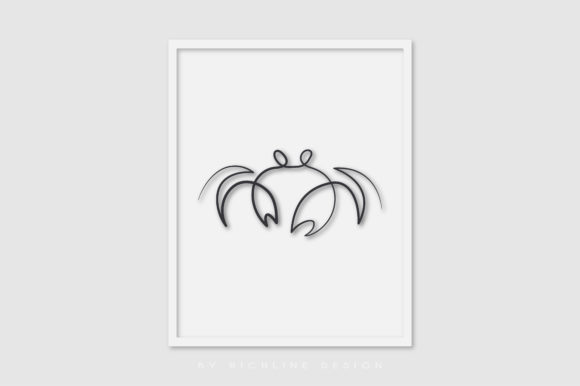 Line Art Poster Crab Graphic Illustrations By RICHLINE DESIGN