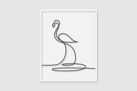 Download Free Line Art Poster Crane Bird Graphic By Richline Design Creative for Cricut Explore, Silhouette and other cutting machines.