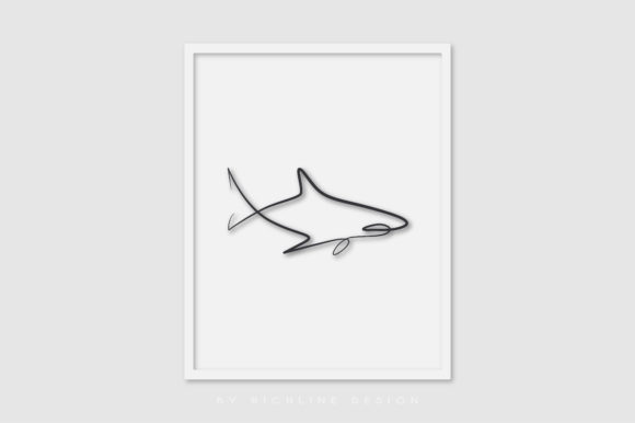 Line Art Poster Shark Graphic Illustrations By RICHLINE DESIGN