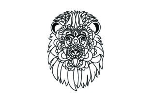 Lion Head. Mandala Line Art Style (for Coloring Book) Craft Design By Creative Fabrica Crafts