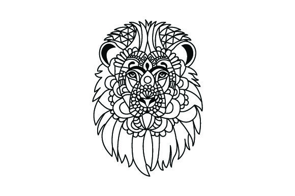 Download Free Lion Head Mandala Line Art Style For Coloring Book Svg Cut for Cricut Explore, Silhouette and other cutting machines.