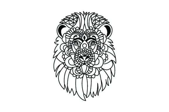 Lion Head. Mandala Line Art Style (for Coloring Book)