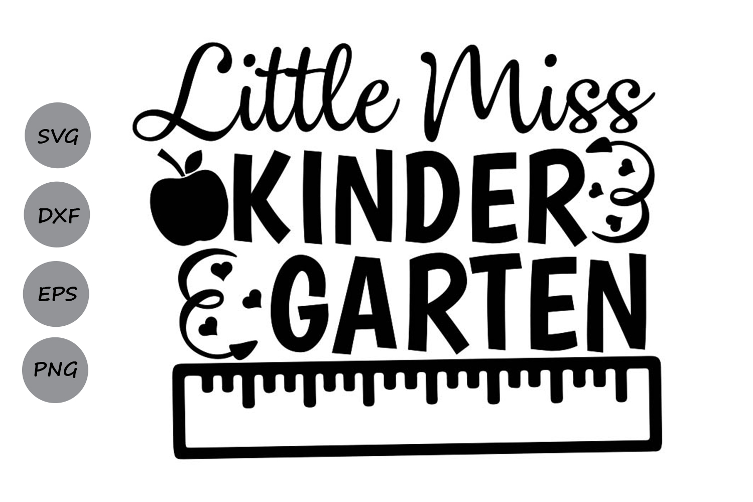 Download Free Little Miss Kindergarten Graphic By Cosmosfineart Creative Fabrica for Cricut Explore, Silhouette and other cutting machines.