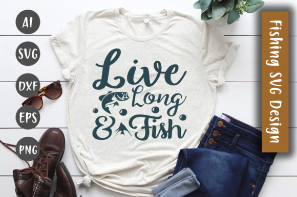 Print on Demand: Live Long & Fish SVG Design Graphic Crafts By CreativeArt