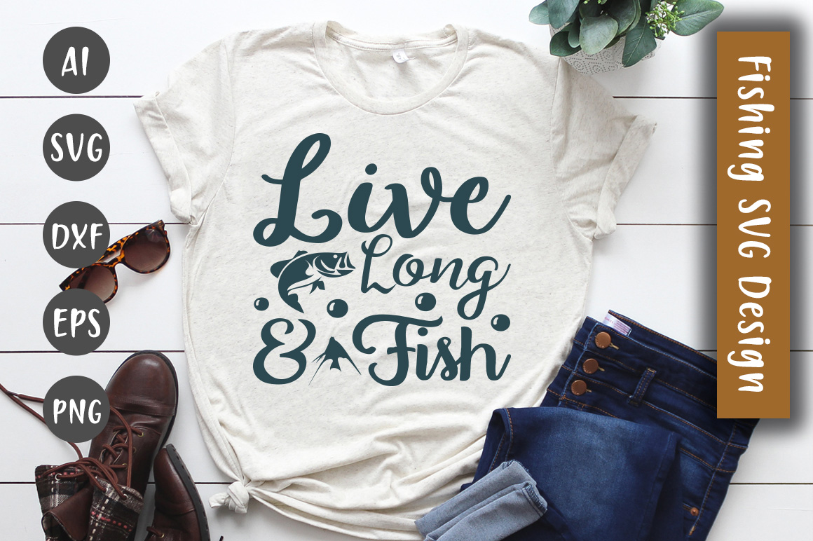 Download Free Live Long Fish Svg Design Graphic By Creativeart Creative Fabrica for Cricut Explore, Silhouette and other cutting machines.