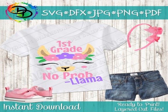 Download Free Llama First Grade Graphic By Dynamicdimensions Creative Fabrica for Cricut Explore, Silhouette and other cutting machines.