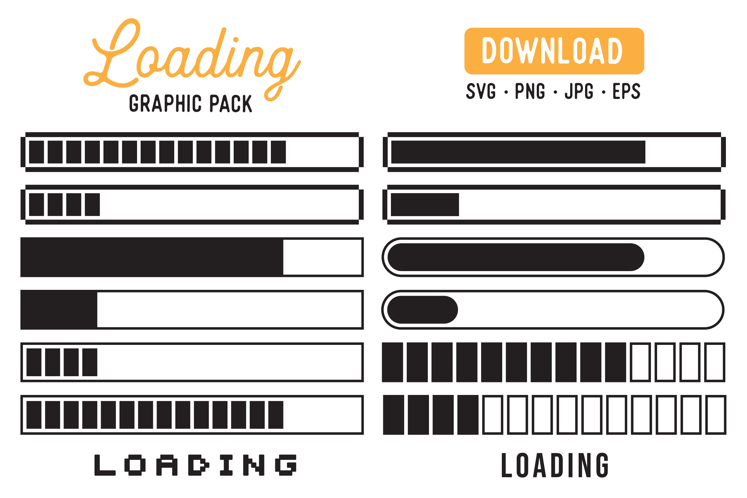 Download Free Loading Bar Retro Vector Graphic Pack Graphic By The Gradient for Cricut Explore, Silhouette and other cutting machines.