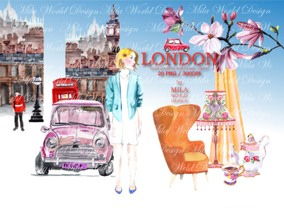 London Trip Watercolor Clip Art Graphic Illustrations By MilaWorldDesing