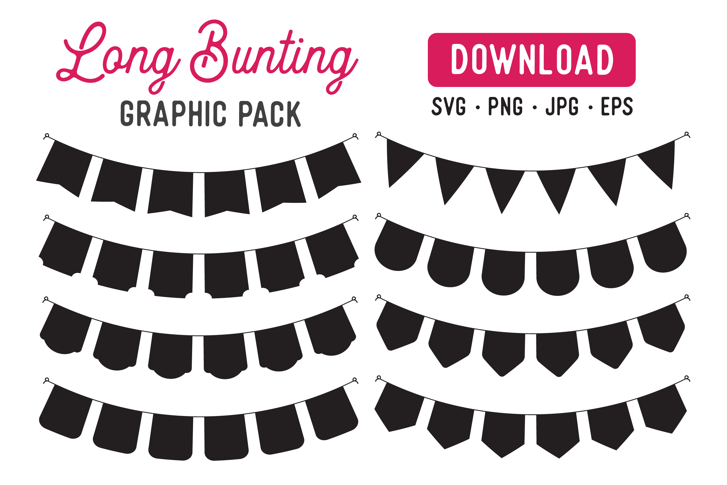 Download Free Long Bunting Banner Vector Clipart Pack Graphic By The Gradient for Cricut Explore, Silhouette and other cutting machines.