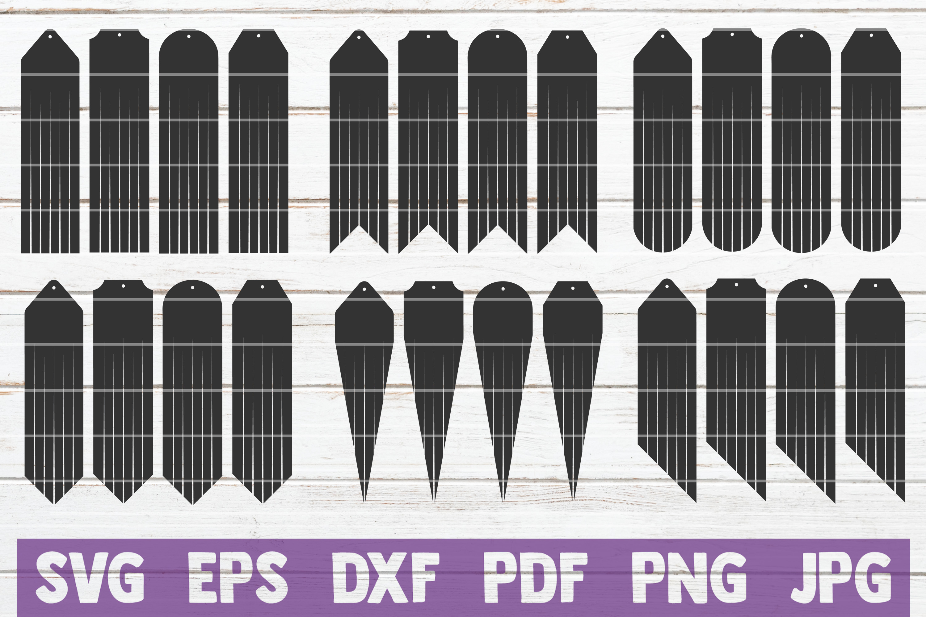 Download Free Long Fringe Earrings Svg Bundle Graphic By Mintymarshmallows for Cricut Explore, Silhouette and other cutting machines.