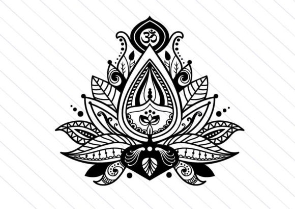 Download Free Lotus Flower Zentangle Clipart Graphic By Betta Mayer Creative for Cricut Explore, Silhouette and other cutting machines.