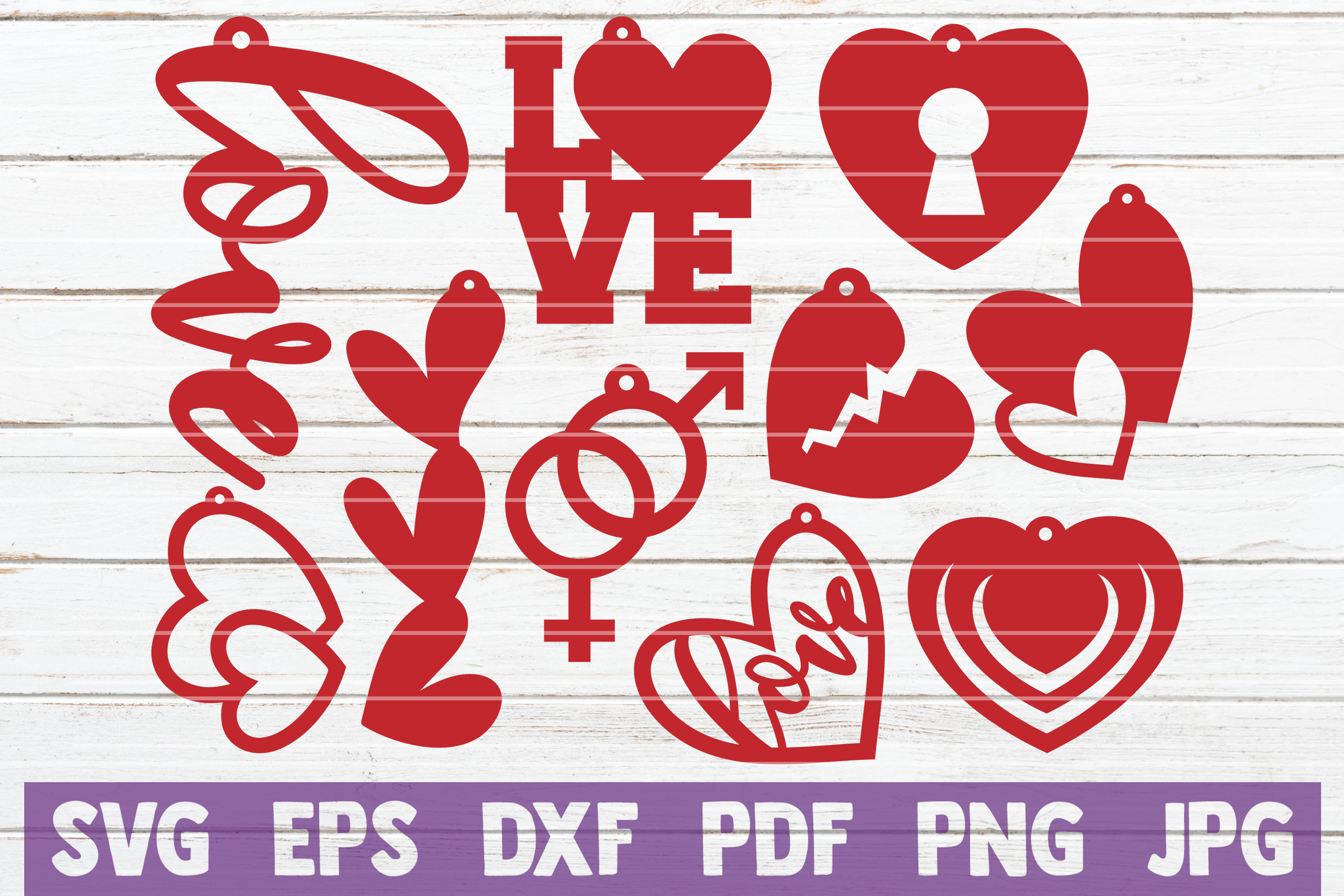 Download Free Love Earrings Bundle Cut Files Graphic By Mintymarshmallows for Cricut Explore, Silhouette and other cutting machines.