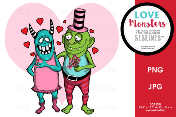 Print on Demand: Love Monsters Valentine & Wedding Graphic Illustrations By SLS Lines