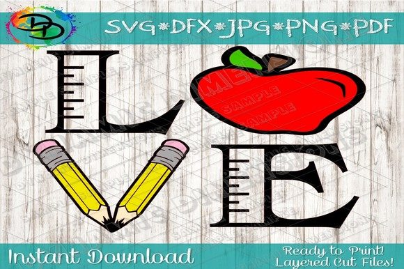Download Free Love School Teacher Graphic By Dynamicdimensions Creative Fabrica for Cricut Explore, Silhouette and other cutting machines.