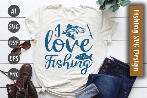 Print on Demand: Love Fishing SVG Design Graphic Crafts By CreativeArt