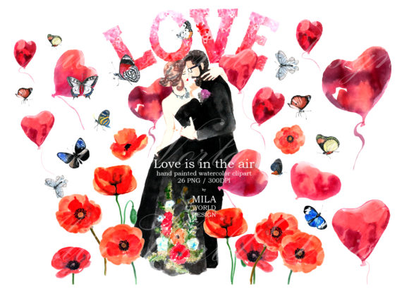 Download Free Love Is In The Air Watercolor Clip Art Graphic By for Cricut Explore, Silhouette and other cutting machines.