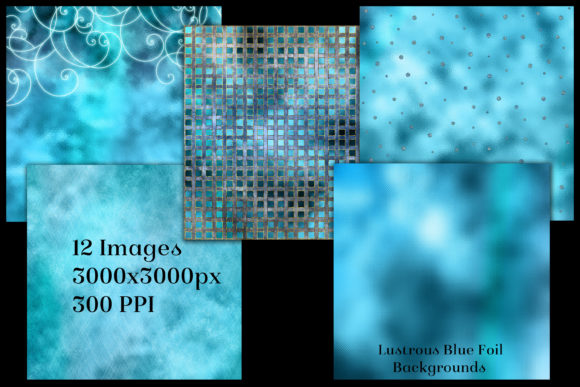 Print on Demand: Lustrous Blue Foil Backgrounds Graphic Backgrounds By SapphireXDesigns - Image 2