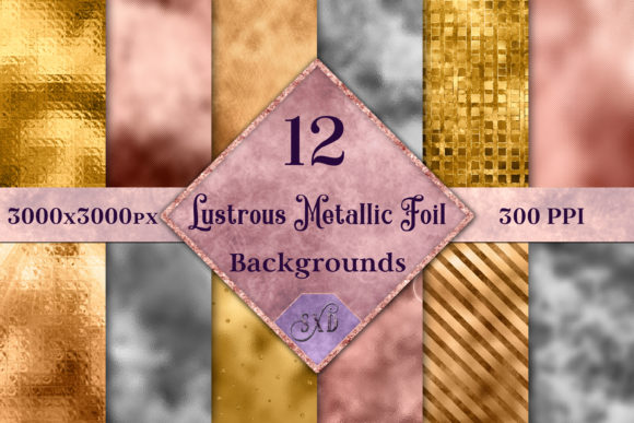 Print on Demand: Lustrous Metallic Foil Backgrounds Graphic Backgrounds By SapphireXDesigns