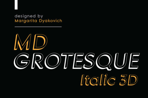 Print on Demand: MD Grotesque Italic 3D Sans Serif Font By Margarita Dyakovich