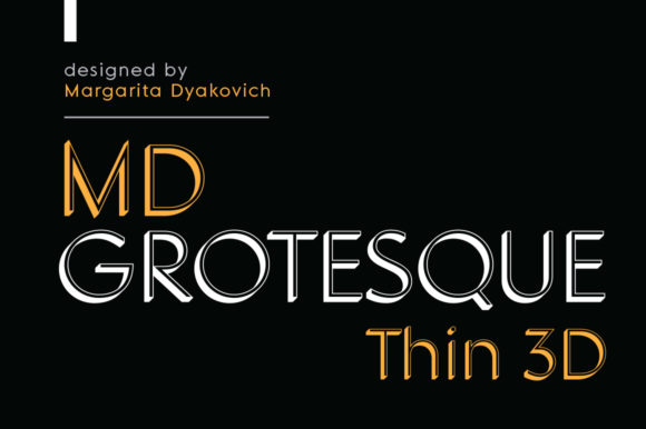 Print on Demand: MD Grotesque Thin 3D Sans Serif Font By Margarita Dyakovich - Image 1