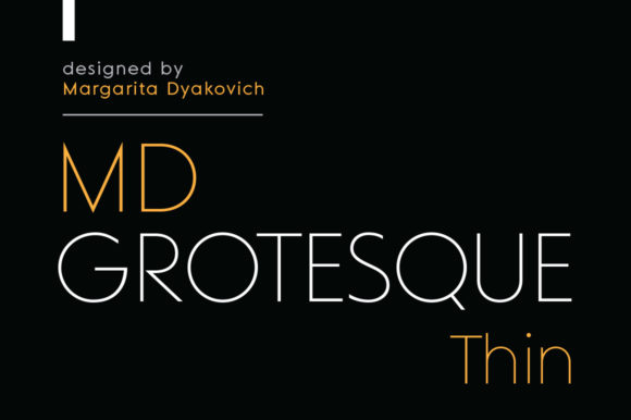 Print on Demand: MD Grotesque Thin Sans Serif Font By Margarita Dyakovich