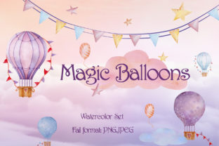 Magic Balloons Watercolor Set Graphic By Mari_artchef