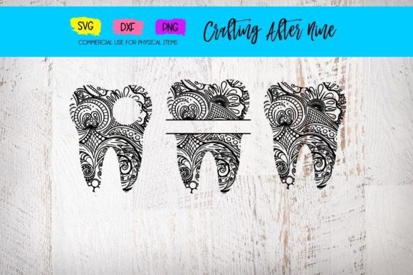 Download Free Mandala Tooth Cut Files Graphic By Crafting After Nine for Cricut Explore, Silhouette and other cutting machines.