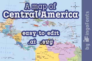 Map of Central America Graphic By ingoFonts