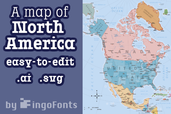 Download Free Map Of North America Graphic By Ingofonts Creative Fabrica for Cricut Explore, Silhouette and other cutting machines.