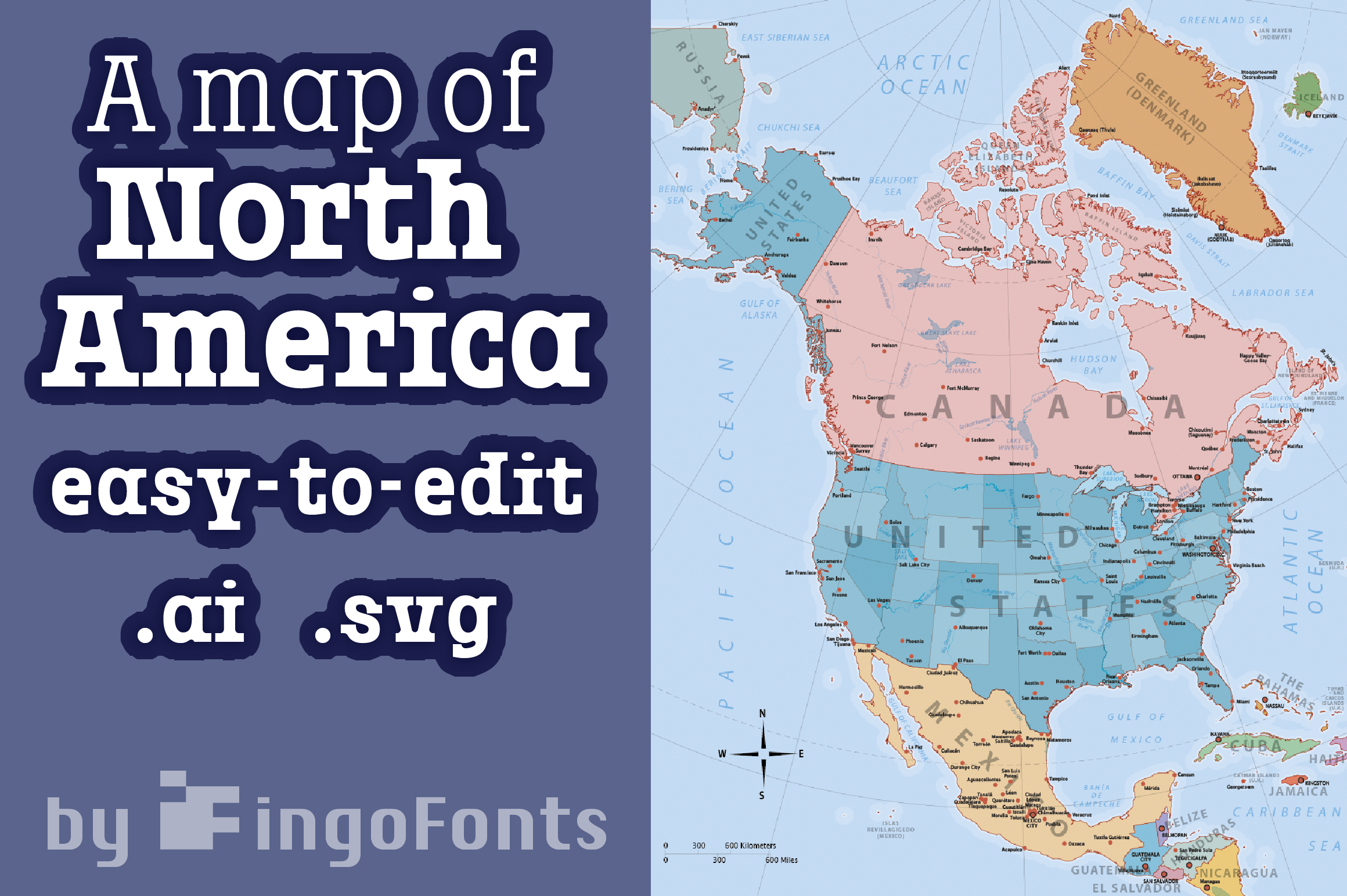 Download Free Map Of North America Grafico Por Ingofonts Creative Fabrica for Cricut Explore, Silhouette and other cutting machines.