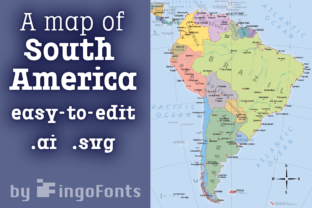 Map of South America Graphic By ingoFonts