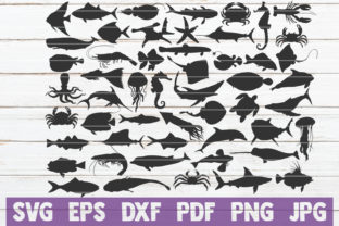 Download Free Marine Life Silhouettes Svg Bundle Graphic By Mintymarshmallows for Cricut Explore, Silhouette and other cutting machines.