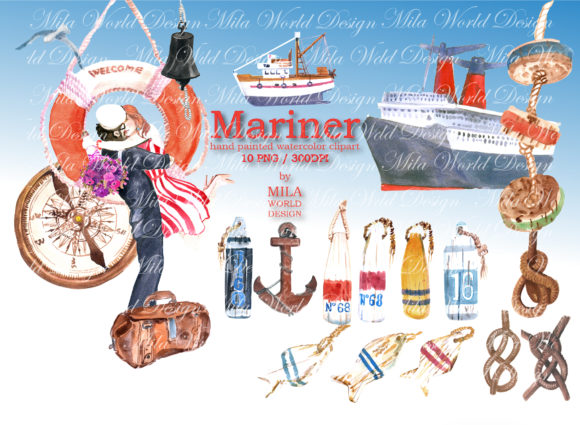 Mariner Watercolor Clip Art Graphic Illustrations By MilaWorldDesing