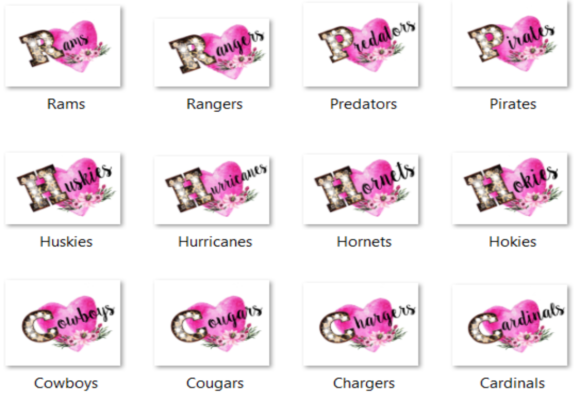 Print on Demand: Marquee Sport Names Bungle of 45 Graphic Crafts By Auntie Inappropriate Designs