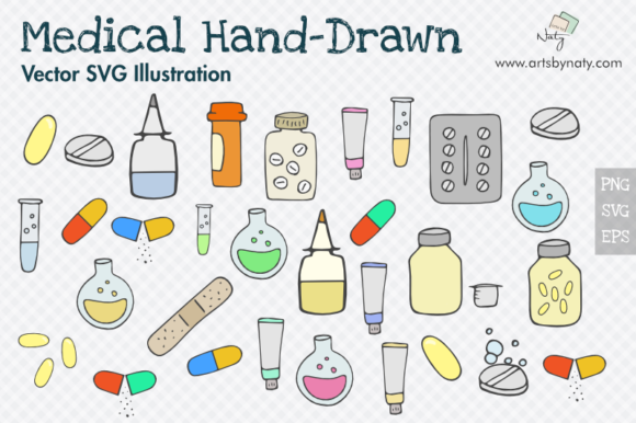 Print on Demand: Medical Hand-Drawn Vector Pack Graphic Illustrations By artsbynaty