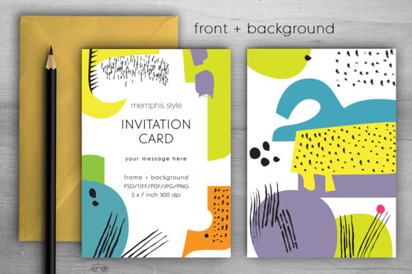 Download Free Memphis Invitation Card Iv Graphic By Margarita Dyakovich for Cricut Explore, Silhouette and other cutting machines.