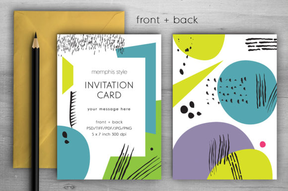 Download Free Memphis Invitation Card Vii Graphic By Margarita Dyakovich for Cricut Explore, Silhouette and other cutting machines.