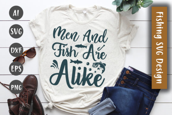 Print on Demand: Men and Fish Are Alike SVG Design Graphic Crafts By CreativeArt