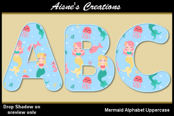 Print on Demand: Mermaid Alphabet Uppercase Graphic Objects By Aisne