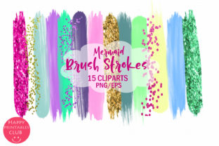 Mermaid Brush Strokes Clipart Graphic By Happy Printables Club