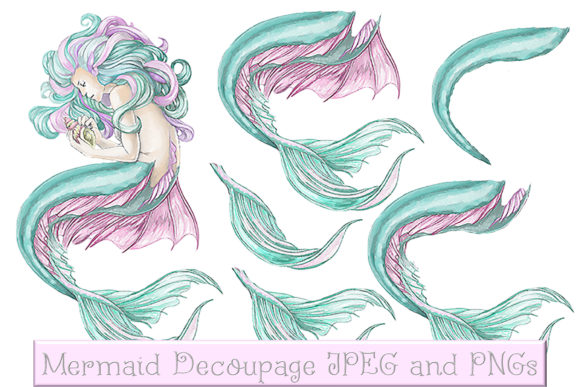 Download Free Mermaid Clipart And Printables Decoupage Graphic By The Paper for Cricut Explore, Silhouette and other cutting machines.