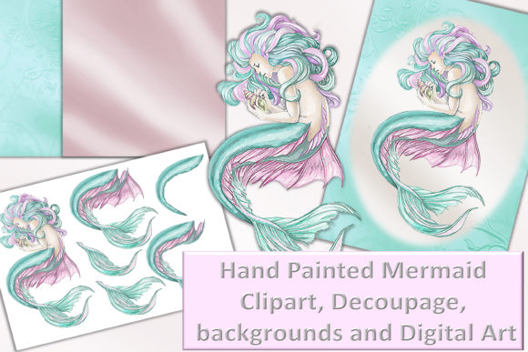 Print on Demand: Mermaid Clipart and Printables Decoupage Gráfico Crafts Por The Paper Princess