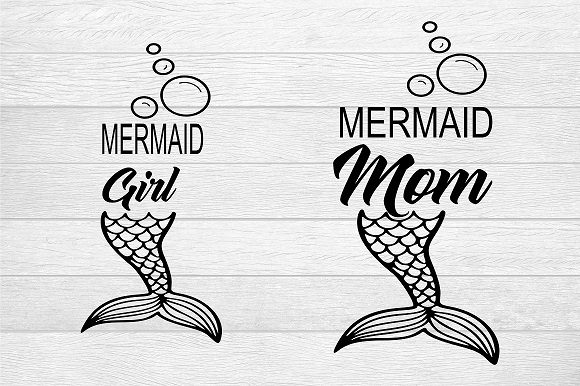 Download Free Mermaid Mom And Mermaid Girl Graphic By Family Creations for Cricut Explore, Silhouette and other cutting machines.