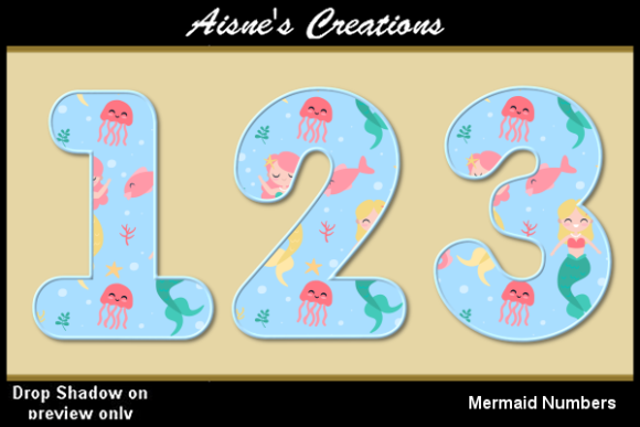 Print on Demand: Mermaid Numbers Graphic Objects By Aisne