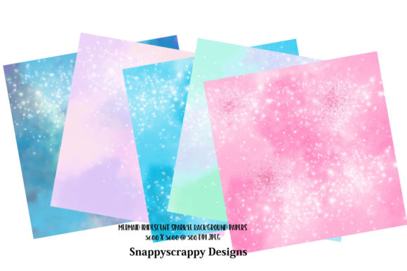 Mermaid Sparkles Background Papers Graphic By Snappyscrappy Image 2