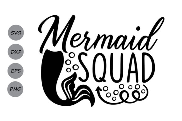 Download Free Mermaid Squad Graphic By Cosmosfineart Creative Fabrica for Cricut Explore, Silhouette and other cutting machines.
